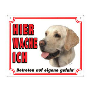 FREE Dog Warning Sign, Labrador Retriever yellow