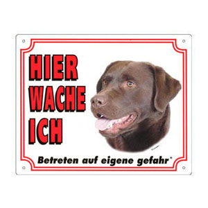 FREE Dog Warning Sign, Labrador chocolate