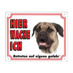 GRATIS Hunde Warnschild, Bullmastiff