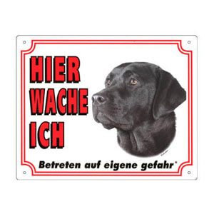 FREE Dog Warning Sign, Labrador black