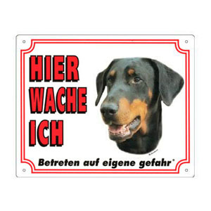 FREE Dog Warning Sign, Doberman Pinscher